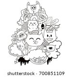 funny doodle character cats... | Shutterstock .eps vector #700851109