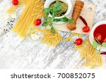 homemade basil pesto sauce ... | Shutterstock . vector #700852075