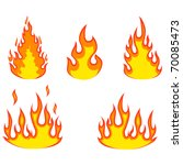 various fire elements isolated... | Shutterstock . vector #70085473