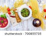 basil pesto sauce  tomato sauce ... | Shutterstock . vector #700855735