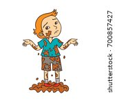 little boy playing in dirty mud ... | Shutterstock .eps vector #700857427