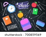 back to school background on... | Shutterstock .eps vector #700859569
