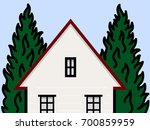 house and trees  | Shutterstock .eps vector #700859959