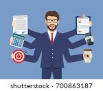 happy businessman with many... | Shutterstock .eps vector #700863187