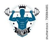 bodybuilding weightlifting gym... | Shutterstock . vector #700864681