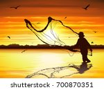 silhouette of man catching the... | Shutterstock .eps vector #700870351