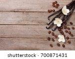vanilla sticks with coffee...   Shutterstock . vector #700871431
