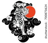 traditional japanese tiger... | Shutterstock .eps vector #700873624