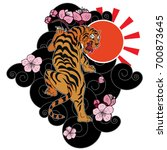 traditional japanese tiger... | Shutterstock .eps vector #700873645