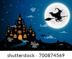 haunted house and full moon...   Shutterstock .eps vector #700874569