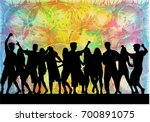 dancing people silhouettes.... | Shutterstock .eps vector #700891075