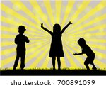 children silhouettes. abstract... | Shutterstock .eps vector #700891099