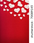 White hearts on red background - stock photo