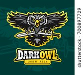 furious owl head mono sport... | Shutterstock .eps vector #700897729