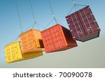 four shipping containers during ... | Shutterstock . vector #70090078