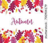 autumn greeting card with acorn ... | Shutterstock .eps vector #700904179