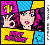 "pop art woman card. ""happy... 