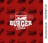 burger house logo on seamless... | Shutterstock .eps vector #700908715