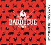 barbecue logo on red seamless... | Shutterstock .eps vector #700908769