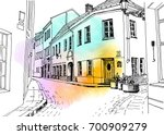 old city street in hand drawn... | Shutterstock .eps vector #700909279