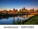 Edmonton downtown, James Macdonald Bridge and the Saskatchewan River at night, Alberta, Canada. Long exposure.