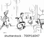 man in a wheelchair in the park ... | Shutterstock .eps vector #700916047