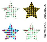 trendy star icons with hearts... | Shutterstock .eps vector #700930765