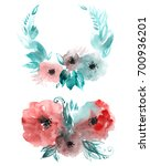 floral wreath and bouquet of...   Shutterstock . vector #700936201