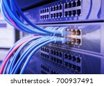 network cable panel  switch and ... | Shutterstock . vector #700937491