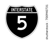 interstate highway 5 road sign. ... | Shutterstock .eps vector #700940731