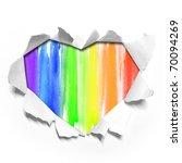 watercolor Heart shape paper - stock photo
