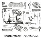 set of fishing tackle and boat... | Shutterstock .eps vector #700950961