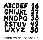 hand drawn letters and numbers... | Shutterstock .eps vector #700954414