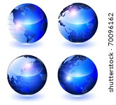 glossy vector globes  all... | Shutterstock .eps vector #70096162
