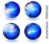 glossy vector globes  all... | Shutterstock .eps vector #70096162