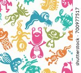 funny monsters seamless pattern ... | Shutterstock .eps vector #700977517