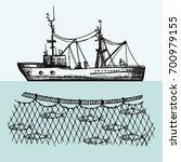 fishing vessel vector.... | Shutterstock .eps vector #700979155