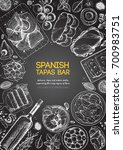 spanish tapas  top view frame.... | Shutterstock .eps vector #700983751