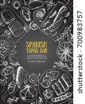 spanish cuisine top view frame. ... | Shutterstock .eps vector #700983757