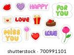 set of love sticker. flat and... | Shutterstock .eps vector #700991101