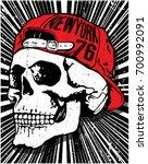 skull t shirt graphic design  | Shutterstock .eps vector #700992091
