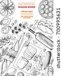 spanish cuisine top view frame. ... | Shutterstock .eps vector #700995631