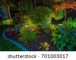 Elegant Backyard Garden Led Lights Illumination. Lighting in a Garden. - stock photo