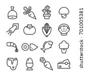 food ingredients line icon set... | Shutterstock .eps vector #701005381