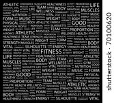 fitness. word collage on black...   Shutterstock .eps vector #70100620