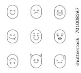 smiles linear icons set. thin... | Shutterstock .eps vector #701008267