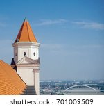 A beautiful view from the tower of the castle in Bratislava, Slovakia - stock photo