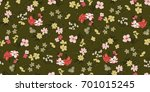 seamless floral pattern in... | Shutterstock .eps vector #701015245