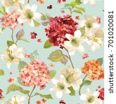 autumn hortensia and lily... | Shutterstock .eps vector #701020081