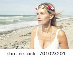 portrait of blond woman with... | Shutterstock . vector #701023201